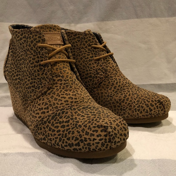 c401692367c Toms Shoes - Toms Desert Wedge Ankle Bootie in Cheetah Suede